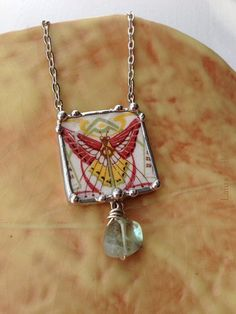 Broken china jewelry necklace antique Art by dishfunctionldesigns, $75.00