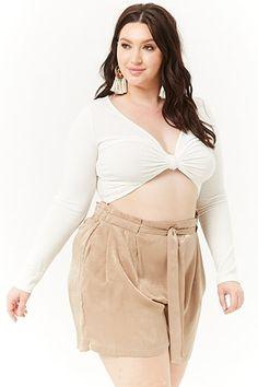 75b36c1b2ed Plus Size Relaxed Satin Paperbag Shorts