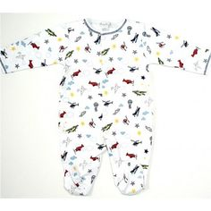 An adorable aviator design adds an extra classic look to Kissy Kissy's soft pima cotton footie.