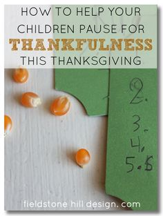 Help Your Children Pause For #Thankfulness this #Thanksgiving ! A very simple #tradition that is easy to do! LOVE THIS. via @fieldstonehill