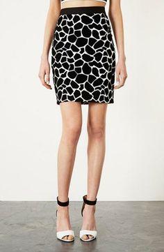 Topshop Giraffe Pattern Pencil Skirt