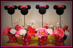 Minnie Mouse Birthday Centerpieces (set of 4)