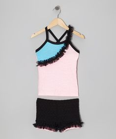 Take a look at this Pink & Blue Ruffle Tank & Shorts - Toddler & Girls by Lexi-Luu Designs on #zulily today!