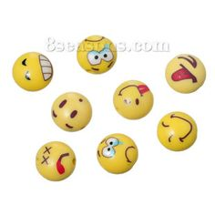 """Wholesale - Polymer Clay Beads Round Yellow Emoji Face Pattern At Random About 12mm( 4/8"""") Dia, Hole: Approx 1.8mm, 30 PCs"""