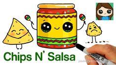 drawing draw drawings snack easy kawaii salsa chips cartoon coloring faces things fun step meatballs
