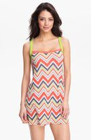 BCA #Chevron Stripe Cover-Up Dress in orange, purple, and lime green!  Great short dress, already on sale!