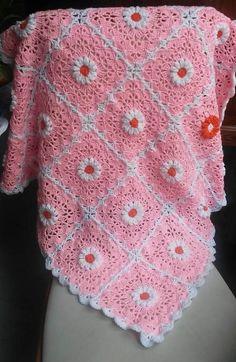 Pink Daisy Crocheted Baby Blanket