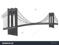 Brooklyn Bridge Drawing Stock Vector Illustration 213437068 : Shutterstock