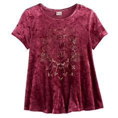 Girls 7-16 & Plus Size Mudd® Foil Print Velvet Swing Tee, Size: 14 1/2, Red
