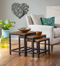 Nesting tables save space. Set of three rectangular side tables. Reclaimed wood has natural distressing. Versatile end tables. Iron base with powder coating. Sponsored. #home_decor