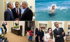 The photographs, the majority of which were taken by Chief Official White House photographer Pete Souza, show the president in lighthearted as well as serious moments.