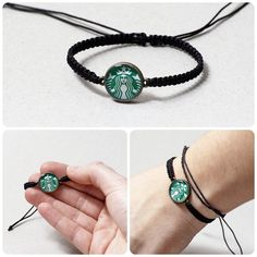 Starbucks bracelet Starbucks macrame bracelet Starbucks Jewelry Starbucks Resin pendant Coffee Jewelry Black Green White Modern bracelet on Etsy, $8.99 CAD SOMEONE BUY ME THIS!! @Brianna Hilary Christmas?