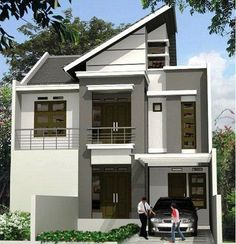 Simple and Modern Inspirational Minimalist Home Designs House Paint Design, Type 45, Modern Minimalist House, Picture Design, Home Fashion, House Painting, Outdoor Structures, Mansions, Architecture