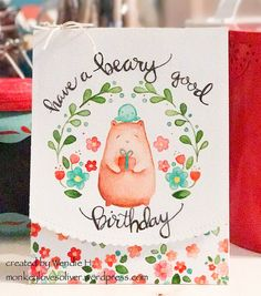 Here are a couple of things I love: whimsy and watercolor. I am trying to fill my days with as much of both as I can lately. Today I have a card using the Bear & Bird stamp set from Waffle Flow…