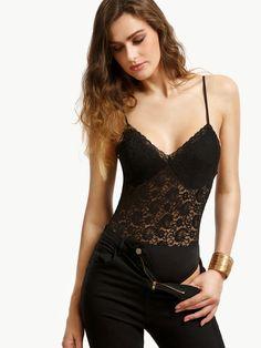 Black Lace Backless Spaghetti Strap Bodysuit