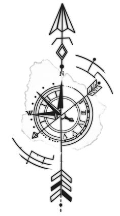 Arm Tattoos For Guys Forearm, Band Tattoos For Men, Tattoos For Women Half Sleeve, Small Tattoo Designs, Tattoo Sleeve Designs, Tattoo Designs Men, Small Tattoos, Arrow Compass Tattoo, Compass Tattoo Design
