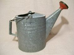 Galvanized Steel Metal Watering Can w/ Red Sprinkler Spout