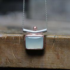 Blue Chalcedony Silver Copper Necklace Serene by NangijalaJewelry