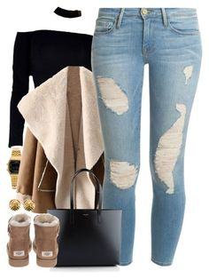 """Untitled #1608"" by power-beauty ❤ liked on Polyvore featuring Casio, Frame, Yves Saint Laurent, UGG and Chanel"