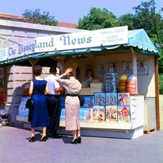 Original Main Gate Newsstand. I love they way people used to dress properly when out in public; I would choose flats over pumps for a day in Disneyland though!  : )