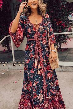 Tassels Floral Print Maxi Dress – Chiclotte Side Split Dress, Side Slit Maxi Dress, Backless Maxi Dresses, Maxi Wrap Dress, Floral Print Maxi Dress, Long Sleeve Mini Dress, Bohemia Style, Natural Living, Boho Chic