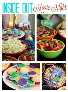 Inside Out Themed Movie Night – Family Movies Miracle Kids Night Out, Movie Night For Kids, Movie Night Snacks, Movie Night Party, Dinner And A Movie, Family Movie Night, Movie Nights, Night Food, Disney Family Movies