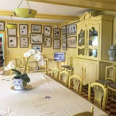 Visited Monet's house and garden in Giverny in Normandy, France today. Enchanting. The dining room. Everything painted like English Yellow! #anniesloan #chalkpaint #anniesloaninspiration
