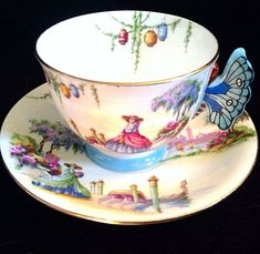 Aynsley Venetian Lady Butterfly Handle Tea Cup and Saucer