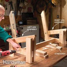 Finish building the framework of the bench by joining the legs with a stretcher.