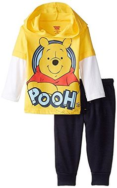 Disney Baby Boys Winnie The Pooh Jogger Fleece Pant Set with Jersey Hang Down Hoodie Yellow 12 Months * Click image for more details.Note:It is affiliate link to Amazon.