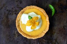 Peach curd and rosewater tartlets with basil whipped cream