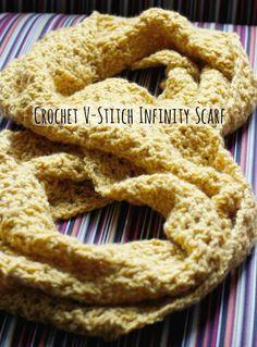 Crochet V-Stitch Infinity Scarf in Yellow