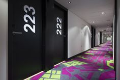 Hotel corridor carpet is inspired by the streets of Bergen. Interior architecture | Ramsoskar