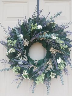 Small Wreath, Dried Flower Wreaths, Dried Flowers, Etsy Wreaths, Wreaths For Sale, How To Make Wreaths, Purple Wreath, Lavender Wreath, Floral Ribbon