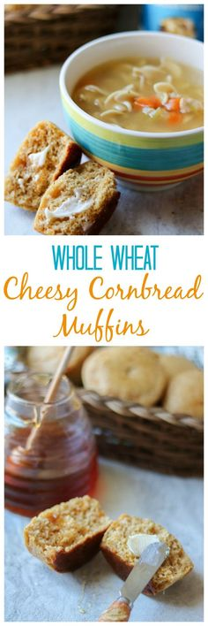 AD: Whole Wheat Cheesy Cornbread Muffins: Easy, from-scratch, whole grain cornbread that is naturally sweetened with honey and bursting with sharp cheddar cheese. #SoupYourWay @progresso
