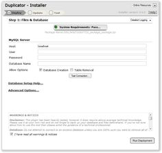 Duplicator plugin: Duplicate, clone, backup, move and transfer an entire site from one location to another.