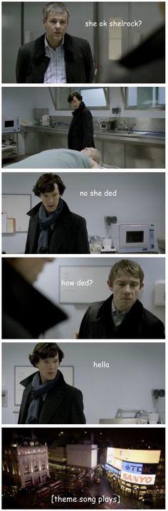 Sherlock examining a body in a nutshell.