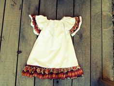Girls Fall Ruffle Sleeve simple Peasant Dress  by plainjanesstore, $23.00 - for sister