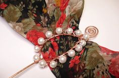 copper glass bead shawl pin by helenshmcreations on Etsy, £8.50