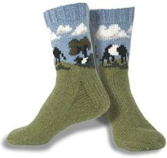 Cows in the Orchard Socks - this lovely site Sweaterscapes has a number of intarsia patterns both for purchase and also free.