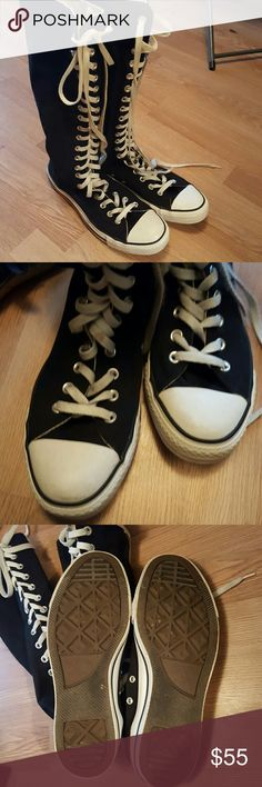 Knee high Converse In Good condition Converse Shoes Athletic Shoes