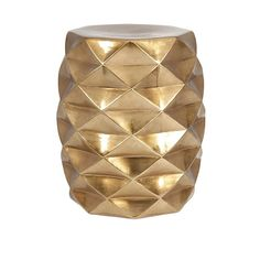 "Use Indoors or out, these chic ""IK Geometric"" Garden Stools bring it in glimmering gold."