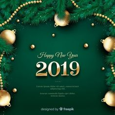 Realistic new year 2019 background Free Vector Christmas Card Template, Christmas Greeting Cards, Christmas Greetings, Merry Christmas, Happy New Year Images, Happy New Year 2019, Happy Year, Card Creator, New Years Poster