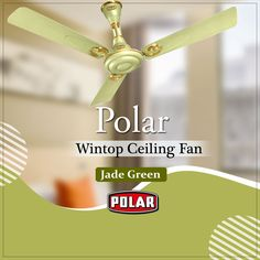 Uniquely designed ceiling fan by Polar with unique curves on the bottom cover to give them a retro look. #Polar #Fan #CeilingFan #WintopCeilingFan Retro Look, Jade Green, Ceiling Fan, Curves, Things To Come, Unique, Design, Ceiling Fans, Ceiling Fan Pulls