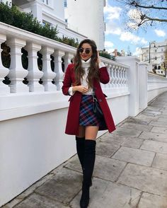 plaid skirt over the knee boots black boots red coat white sweater turtlen. skirt plaid skirt over the knee boots black boots red coat white sweater turtlen. Cute Casual Back To School Outfits for high school Girls Paris Outfits, Winter Fashion Outfits, Autumn Fashion, Holiday Outfits, Preppy Winter Outfits, Cute Christmas Outfits, Casual Winter, Winter Party Outfits, Autumn Outfits Women