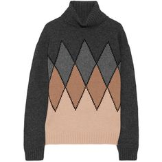 Prada Argyle camel hair turtleneck sweater ($1,410) via Polyvore featuring tops and sweaters