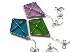 Stained Glass Kites Set of 3 Kite Suncatchers by BlueFishStudios