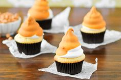 Butterscotch dip cupcakes are adorable and delectable in one shot. Perfect for Halloween or Thanksgiving - they're true show stoppers!