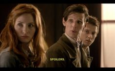 """Doctor , Amy and Rory- I hate this! It is so sad. We always think about the """"are you my mummy?"""" inside joke with the Doctor when he says that and it is just him who gets it, but now River Song has been saying this for SO long, just because the Doctor said it to her once. And he never understood, and then he says it to her."""