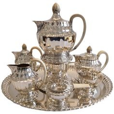 Jugendstil sterling silver tea and coffee set, Vienna 1920. Designer: Otto Prutscher ( 1880-1949 ), maker: silversmith J.C. Klinkosch.